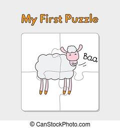 mouton, puzzle, dessin animé, gabarit, enfants