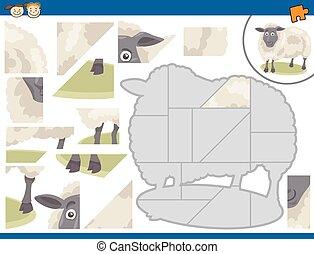 mouton, puzzle, puzzle, dessin animé, tâche