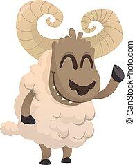 mouton, rigolote, main., caractère, illustration, dessin animé, onduler, vecteur, icon., pelucheux, mascotte