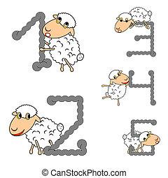 mouton, rigolote, mettez stylique, nombres, dessin animé