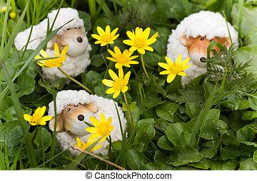 mouton, rigolote, peu, easter-, printemps, -, décoration, ou