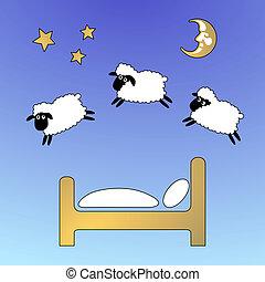 mouton, sauter, ciel, barrière