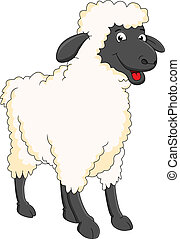 mouton, sourire, dessin animé