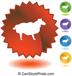 mouton, starburst, ensemble, icône