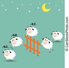 mouton, sur, dénombrement, grillage sauter