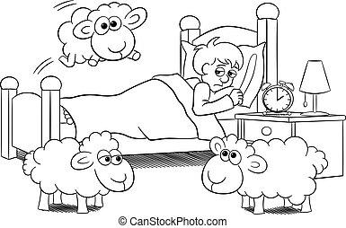 mouton, sur, sans sommeil, lit, sauter, homme