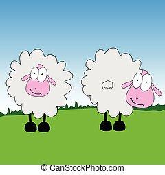 mouton, vecteur, herbe, dessin animé, illustration