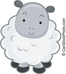 mouton, vue frontale