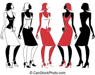 mouvement, élégant, résumé, femme