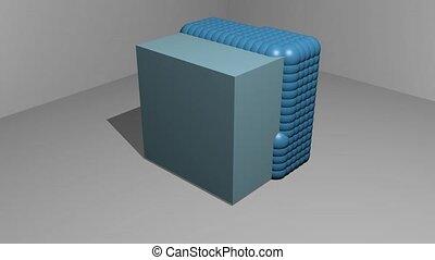 mouvement, éléments, particule, spatial, bleu, gris, arrière...