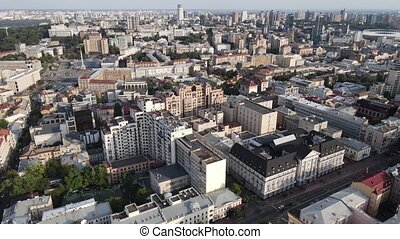 mouvement, aérien, cityscape, ukraine., lent, kyiv, vue, kiev.