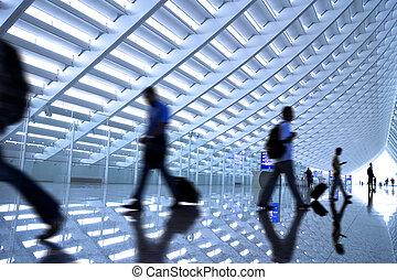 mouvement, aéroport, brouillé, banlieusards