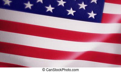 mouvement, américain, lent, intro, drapeau