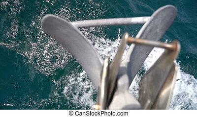 mouvement, anchor., nez, lent, yacht