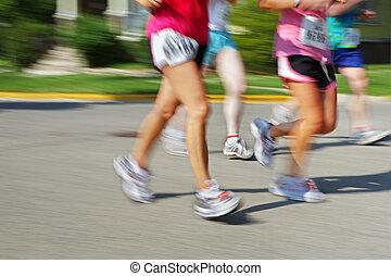 mouvement, appareil photo, marathon, (in, blur)