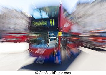 mouvement, autobus, londres, rouges, brouillé