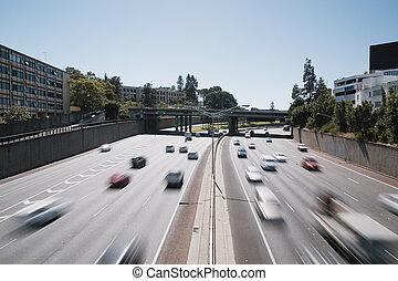 mouvement, autoroute, brouillé