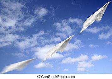 mouvement, avion papier