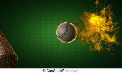 mouvement, ball., lent, base-ball, brûlé