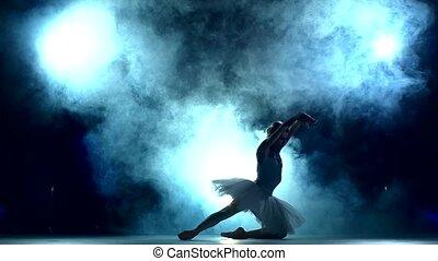 mouvement, ballerine, séance entraînement, lent, bleu