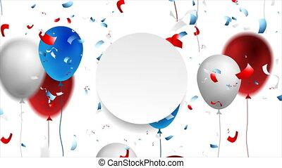 mouvement, ballons, confetti, célébration, fond