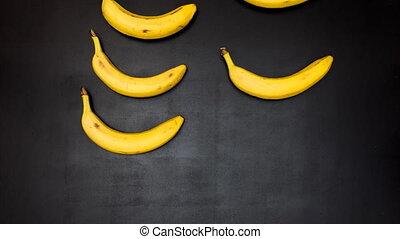 mouvement, banane, animation, arrêt