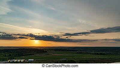 mouvement, beau, temps, niveau, soir, coucher soleil, soleil...