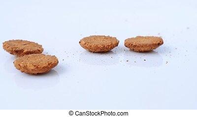 mouvement, biscuits, lent, flocons avoine, bas, fond, automne, blanc