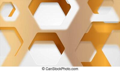 mouvement, blanc, hexagones, fond, bronze, papercut, résumé