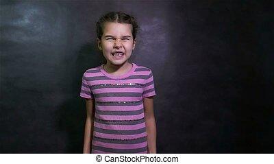 mouvement, bras, girl, crier, onduler, fâché, adolescent, lent, querelle, conflit, sien