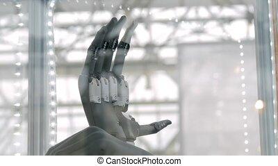 mouvement, bras, individu, humain, -, électronique, lent, ...