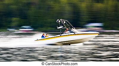 mouvement, brouillé, bateau