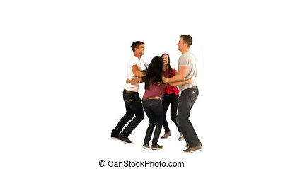 mouvement, célébrer, lent, groupe, amis