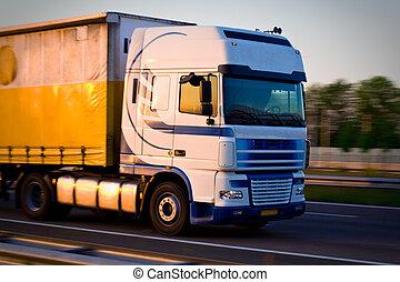 mouvement, camion, fret