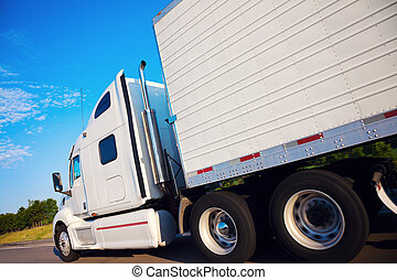mouvement, camion, semi