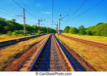 mouvement, chemin fer traque