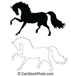 mouvement, cheval, noir