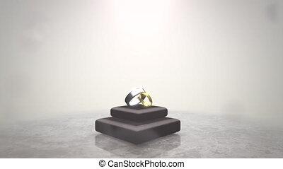 mouvement, closeup, amour, mariage, fond, anneaux, date