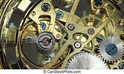 mouvement, closeup, engrenage, horloge