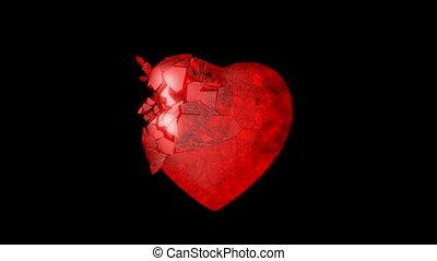 mouvement, coeur, lent, explosion, rouges