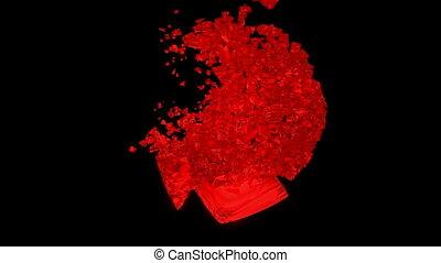 mouvement, coeur, lent, rouges, explosion