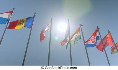 mouvement, coloré, drapeaux, vent, battement des gouvernes, diplomatie, -, lent, concept