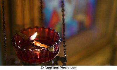 mouvement, colourfull, bougies, lent, brûlé