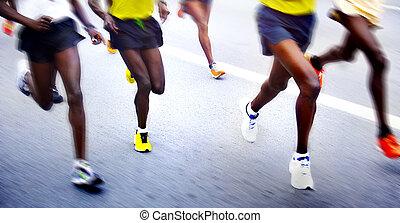 mouvement, -, coureurs marathon, brouillé