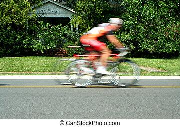 mouvement, course, vélo, brouillé