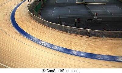 mouvement, course, velodrome, brouillé