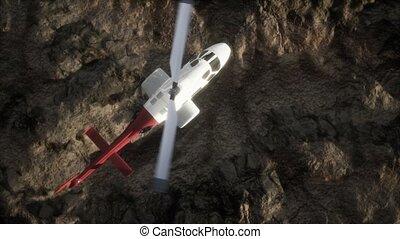 mouvement, désert, rocheux, au-dessus, hélicoptère, lent