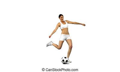 mouvement, donner coup pied, femme, football, lent