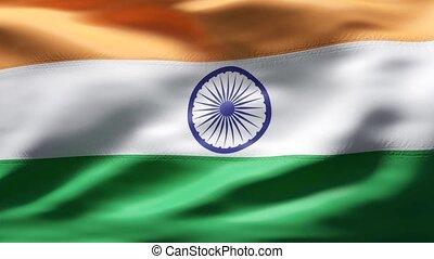 mouvement, drapeau, lent, inde