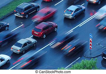 mouvement, en mouvement, voitures, brouillé